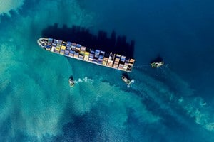 overhead photo of loaded cargo ship