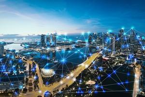 photo illustration 5G connectivity over cityscape