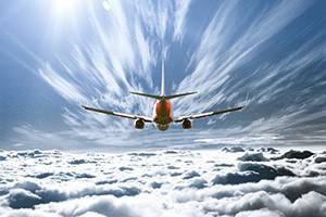 airlplane in clouds