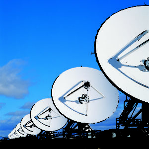 satellite dishes in a row