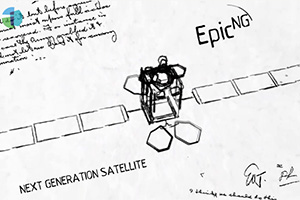 Illustration of early intelsat epic satellite