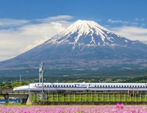 train in japan mountain pass