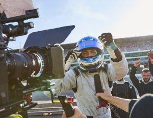 film crew at raceway