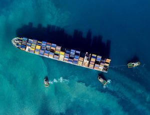 overhed view of cargo ship at sea