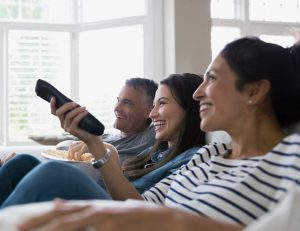 family watching tv in north america