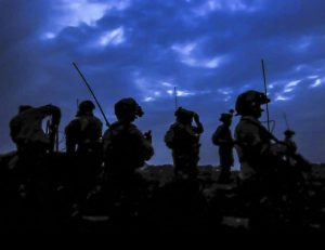 soldiers in silhouette